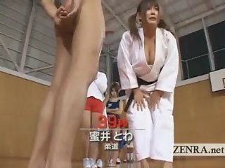 Busty Japanese karate athlete babe gives CFNM blowjob