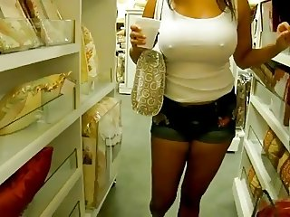 Candid Hard Nipples ass walking in shorts