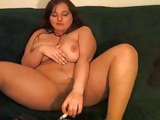 Mature Smokes 2 Cigarettes at Same Time in Tan Pantyhose