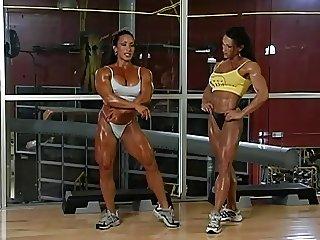 fun gym lesbian  muscle