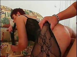 Redhead milf creamed on her gaping butt (bodystocking)