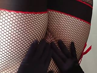 Louise in fishnet and nylon layers - with gloves