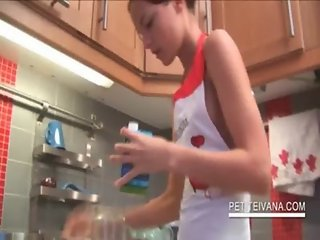 Sexy Ivana wearing only an apron cooks for her BF