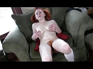 Porcelain Pigtailed Redhead Fingers Her Hot Hairy Hole