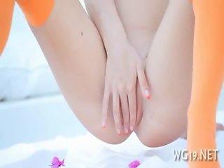 Gal posing  masturbating