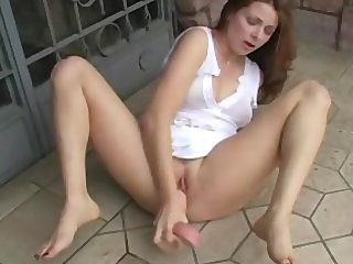 Young Teen masturbating on the PUBLIC STREET with a very realistic dildo