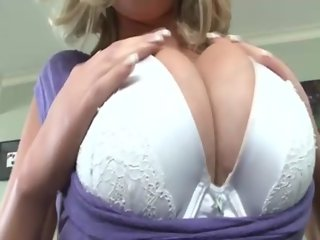 Busty dirty slut stroking tits