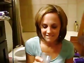 girl drinks cum and gets huge facial at same time