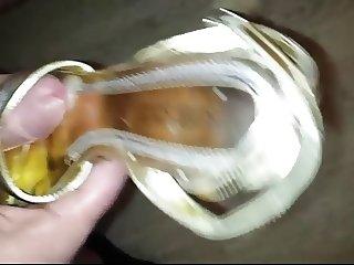 again Golden High Heels Sandals heavy cum