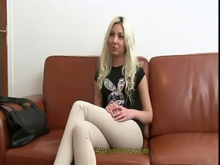 Slim blonde sucks and fucks huge dick in casting