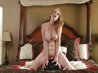 Sex machine makes bigtit mom cum