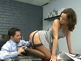 Secretary Jada Stevens black stockings sex