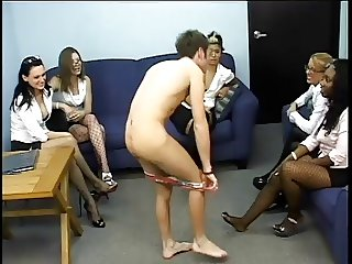 The office man Strapon fucked by five girls