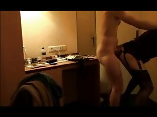 French Crossdress in hotel