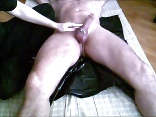 Me teasing, ballslapping and milking a big pierced cock