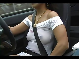 Girl In Sexy Sheer Dress Driving Car