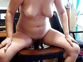 Sexy white wife riding her BBC toy!