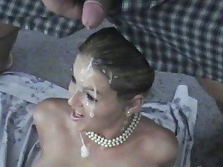 Gorgeous blonde covered in cum