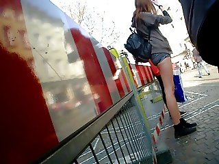 Hot Pants Shorty Shorts Girl At Bus Stop Long Legs