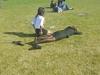 Pantyhose slut on trade show in the grass