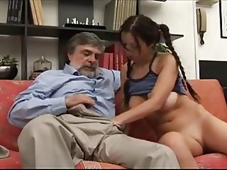 Old man grope young girl