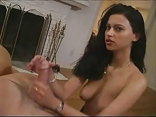 Beauty mom with  saggy tits jerking dick