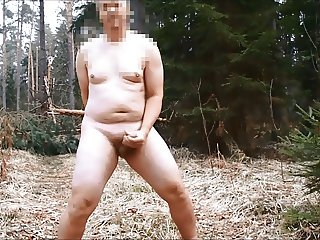 Public wanking on the forest road