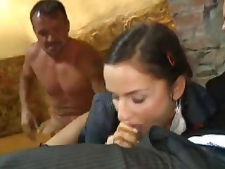 Cute SchoolGirl Gets Fuct By Two Older Guys In Basement 420