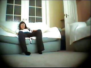 Hidden cam caught my mum fingering in living room