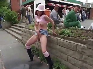 Amateur Exhibitionist at busy bus stop