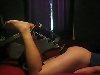 Thick young  BiBoy gets drilled on homade fuck machine