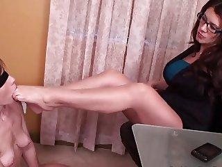 lesbian boss use a lesbian foot slave