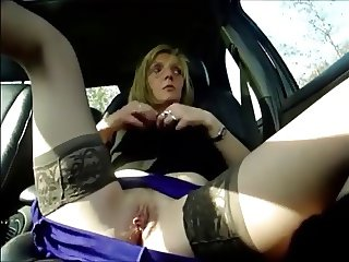 amateur dogging in the car