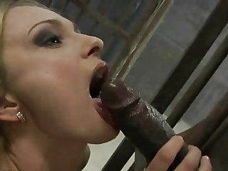 Blonde whore fucked by black guy in prison
