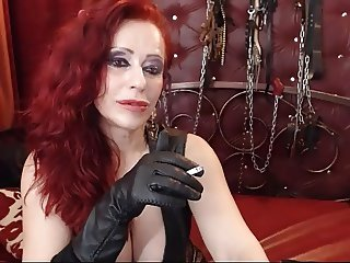 Fetish FemDom smoking with leather gloves on WebCam 2