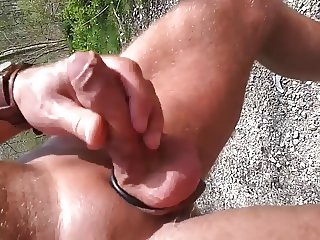 walking the  and jerking my cock