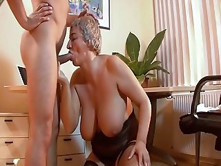 Hungarian Shorthair-Granny with Huge-Boobs by young Guy