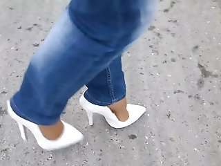 15cm High Heels Pumps - Nylons - Jeans - Walk