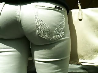 Ass in tight white jeans
