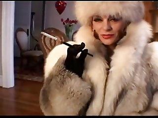 Smoking in fur coat