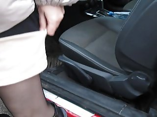 Girl flashing stockings tops while out of the car