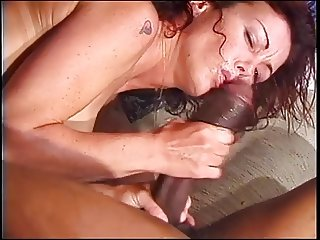 Hot brunette sucks and tugs black dude's huge cock
