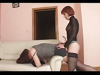 sissy crossdresser gets fucked hard with big strapon.. enjoy
