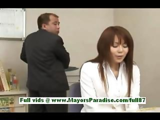 Megu ayase teen japanese girl at work is forced by her boss to undress