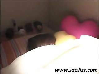 Cute little Asian girl is sleeping in her underwear and woken up