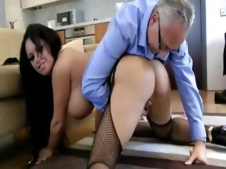 Stockinged slut fucks old cock