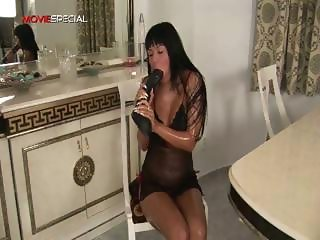 Busty horny slut working on a huge dildo part3