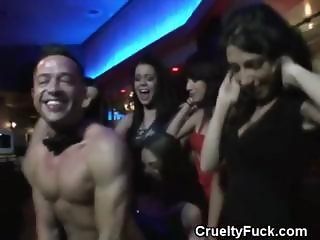 Women Playing With Male Stripper In A Club
