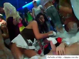 Hot drunk sex orgy under foam in VIP club