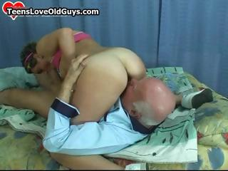 Horny grandpa gets to fuck a cute part1